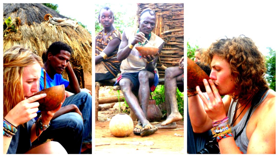 Drinking 'tea' while visiting locals in Key Afar,  Southern Ethiopia