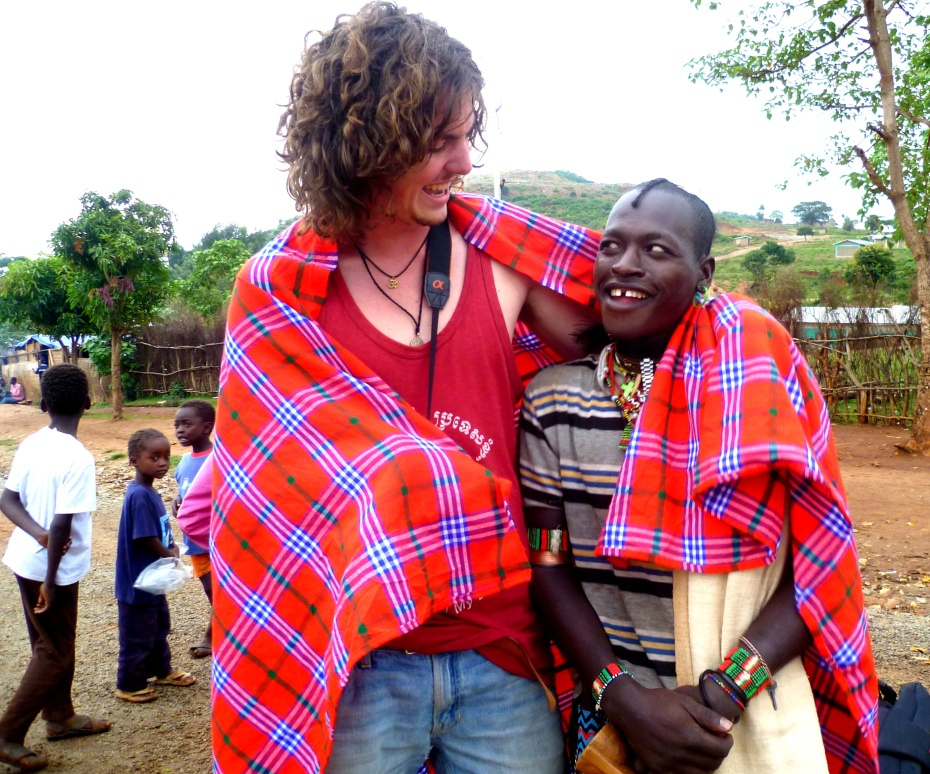Oli and his friend the chief in Key Afar, Southern Ethiopia