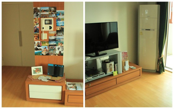 The home cinema system, crazy standing aircon and our memories wall :)