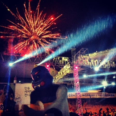 My quick Instagram shot of the fireworks, which Oli was too busy dancing to capture.